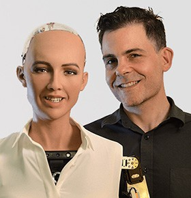 hire sophia robot and dr. hanson